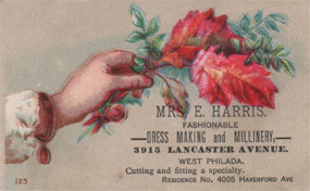 Mrs. E. Harris Millinery 1870-80's Advertising Trade Card Victorian Calling Card Philadelphia