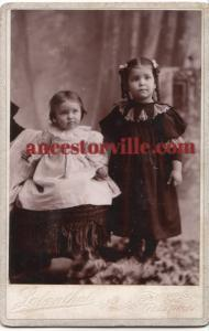 1890s Ethel & Vesta Nungesser Cabinet Photo, Galion Crawford County OH