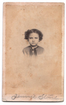 1860's Jennie Stone Turner CDV Photo, Portsmouth, Scioto County, Ohio