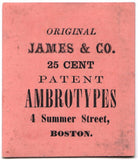 1850s Ambrotype Photographer James & Co. Advertising Trade Card Boston
