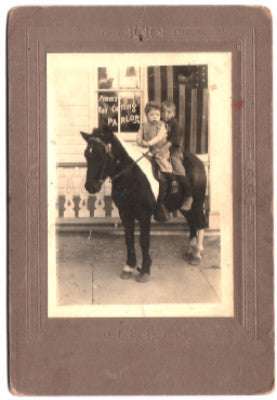 1900 Pimm's Hair Cutting Parlor Barber Shop Photo w/ Kids, Pony, Flag