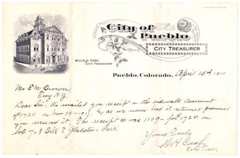 1911 Willis Henry Cush signed Billhead, City Treasurer Pueblo Colorado