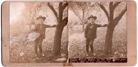 1904 James Walter Baker ID'd Stereoview Photo, Columbus Junction, Iowa