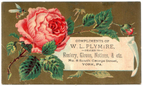1880's William L. Plymire Store Advertising Trade Card, York County PA