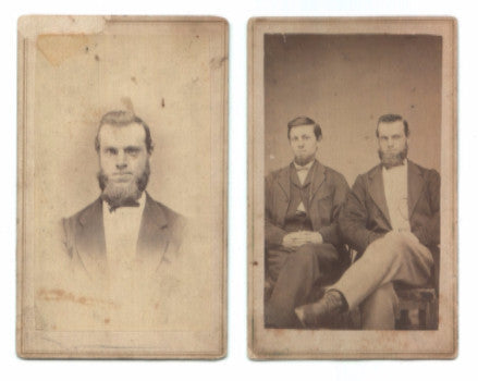 1860 Thomas Pedlow 2 Civil War CDV ID'd Photos, Indiana, Illinois & NY