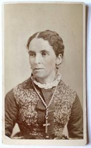 1870s Ann Maria Warren Symonds CDV Photo, wife Walter Symonds, Lynn MA