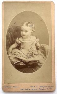 1871 Bessie Margaret Curtiss CDV Photo, Detroit, Wayne County Michigan