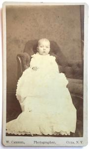 1878 Minnie Smith Vincent ID'd CDV Baby Photo, Cuba Allegany County NY