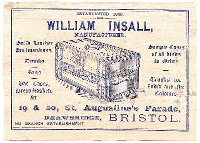 1870's William Insall Company Advertising Card, Bristol, Somerset UK