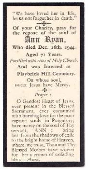 1944 Ann Kirby Ryan Mourning Card, Birkenhead, Wirral, Merseyside UK