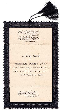 1915 Hester Mary Osmond (Dolly) Edwardian Mourning Card, Cardiff Wales