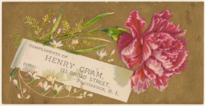 1880's Henry Cram Store Printed Advertising Trade Card, Providence, RI