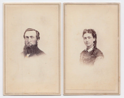 1860's Robert Kerr Barkley & Charlotte Gilchrist Barkley CDV Photos NY