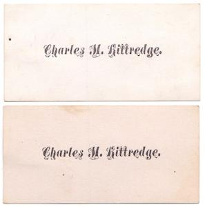 1870's Charles M. Kittredge Victorian Calling Cards, Found Ulster NY