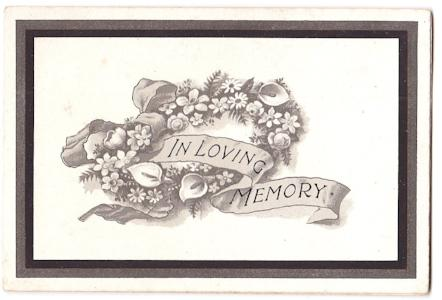1916 Margaret Mullins Mourning Card, Sutton Mandeville, Wiltshire UK