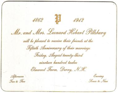 1912 Leonard Hobart Pillsbury 50th Anniv. Invite, Derry, Rockingham NH