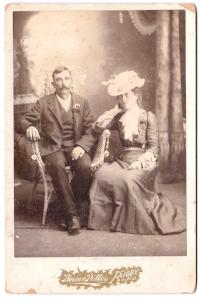 1890's Levi Cline & Katie Grebe Cabinet Photo, Rugby, Pierce County ND