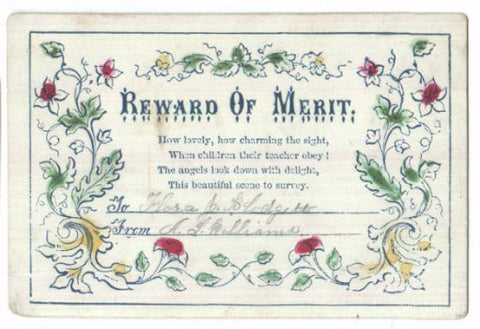 1860's Reward of Merit: Flora J. Blodgett from teacher A.L. Williams