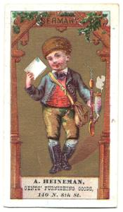 1870's Adolph Heineman Antique Advertising Trade Card, Philadelphia PA