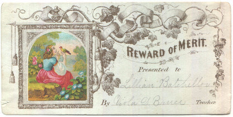 1870 Lillian Batchellor Reward of Merit of Viola D. Bruce, Teacher VT