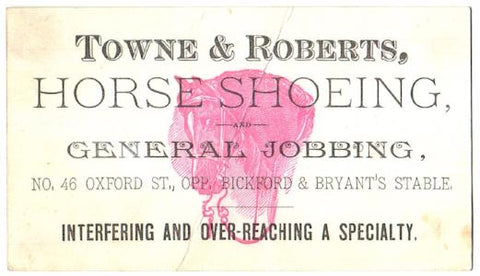 1860-1880's Towne & Roberts Blacksmith Farrier Advertising Trade Card