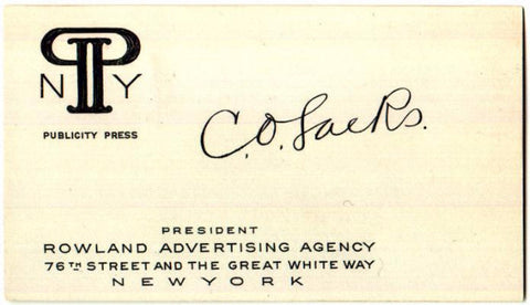 1920's CO Sacks: Clarence Sacks Business Card: John Rowland Agency NYC