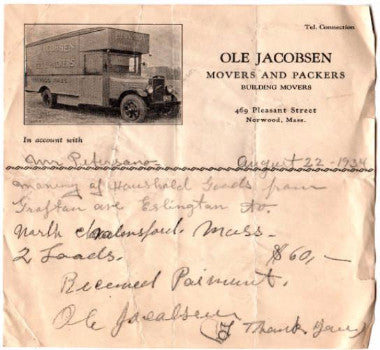 1934 Ole Jacobsen Moving Co. Billhead, Petersano Family of Norwood MA