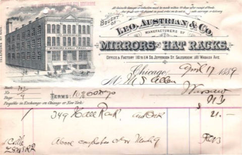 1877 Leo Austrian Co. Advertising Billhead, Chicago IL, Cook County