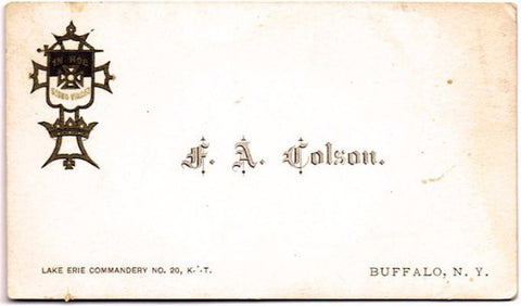 1900's Frederick Colson, Civil War NY 21st, Knights of Templar Card