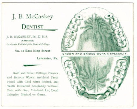 1890's JB McCaskey, 79th PA, Dentist, Lancaster Advertising Trade Card