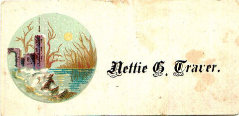 1880 Nettie G. Traver (wife Norman Cookingham) Victorian Calling Card