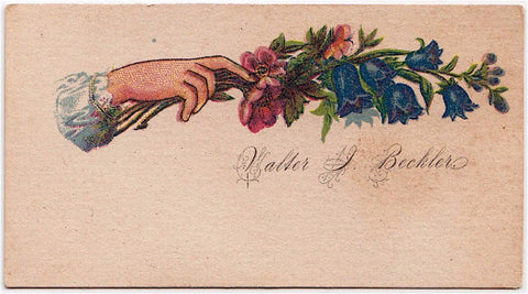 1870's Victorian Calling Card of Walter Irving Beckler, Albany, Maine