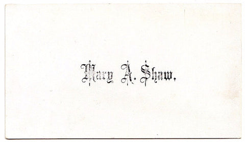 1860's Original Victorian Calling Card of Mary A. Shaw: Genealogy