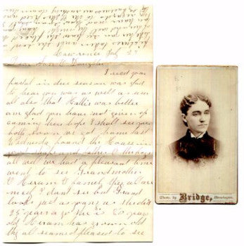 1870's Rebecca Staples CDV Photo & Letter, Skowhegan, Somerset, Maine