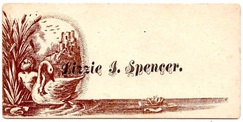 1860-70s Victorian Calling Card of Lizzie I. Spencer: Genealogy
