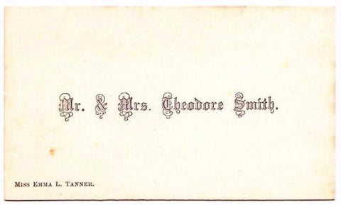 1850s Theodore Smith & Emma Tanner Victorian Calling Card Rhode Island