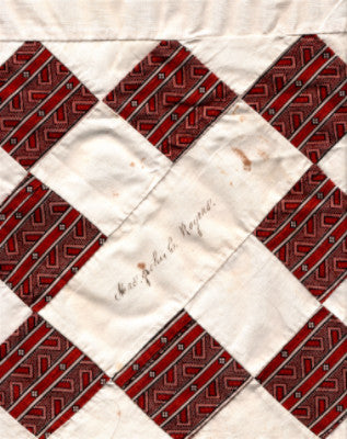 1860's Mrs. John C. Rogers, Portland, Maine Hand Signed Quilt Square
