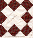 1860's Mrs. M.J. Whitham Signed Quilt Square, Found in Portland, Maine
