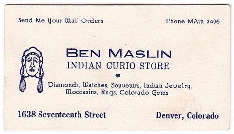 1930's Ben Maslin Indian Curio Store Vintage Business Card Denver, CO