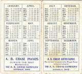 1910 AB Chase Pianos (Allen B Chase) Norwalk OH Advertising Trade Card