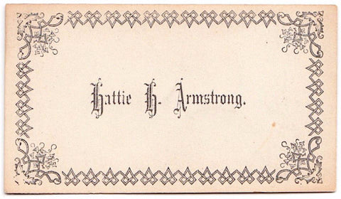 1870's Hattie H. Armstrong Victorian Calling Card, Rhode Island