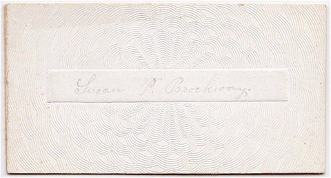 1845 Susan P Brockway Victorian Calling Card, New Hampshire & Mass
