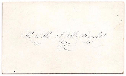 1870 Jesse Arnold & Elizabeth Perry Victorian Calling Card, Bangor, ME