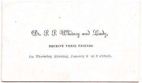 1881 Dr. Stillman Whitney & wife Mary Whitney Victorian Calling Card