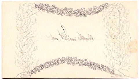 1860's Mrs. William Marble Victorian Calling Card: Marble Genealogy