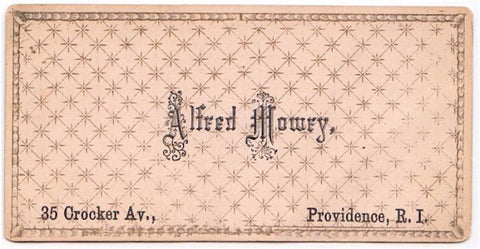 1870's Alfred Mowry Victorian Calling Card, Providence Rhode Island