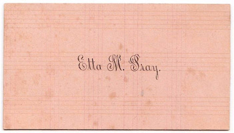 Pray Genealogy: 1890's Etta M. Pray Victorian Calling Card
