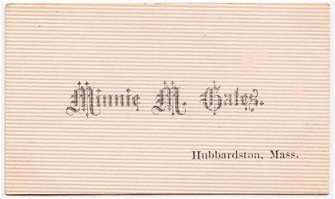 1880 Minnie M. Gates Victorian Calling Card, Hubbardston MA Genealogy