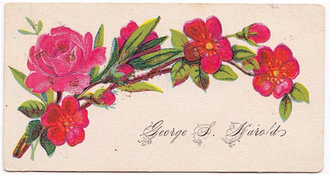 1890 George Harold, Sarah Whittum Victorian Calling Card Worcester, MA