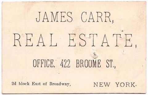 1890's James Carr Vintage Business Card, Real Estate Agent, NY City